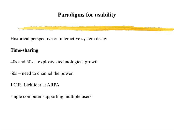 Paradigms for usability