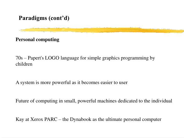 Paradigms (cont'd)