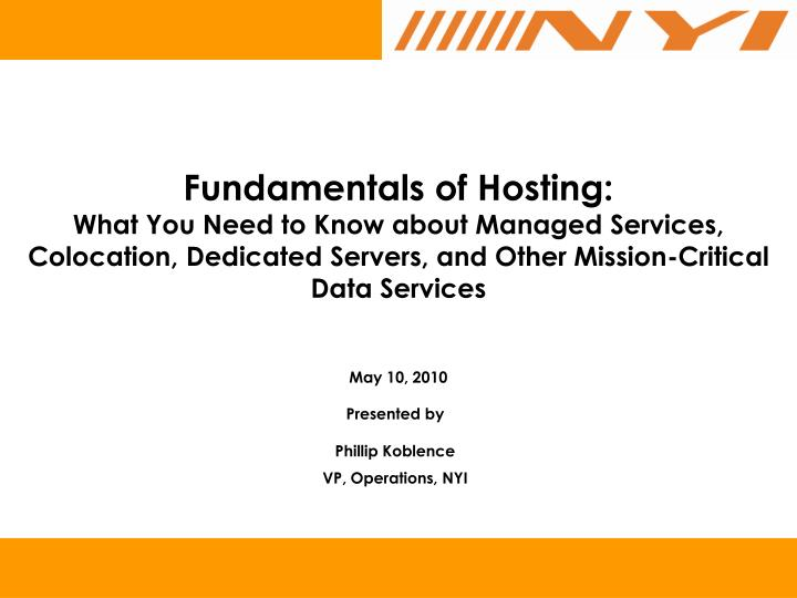 Fundamentals of Hosting: