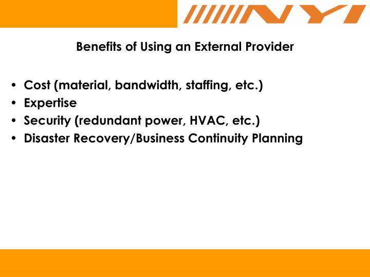 Benefits of Using an External Provider