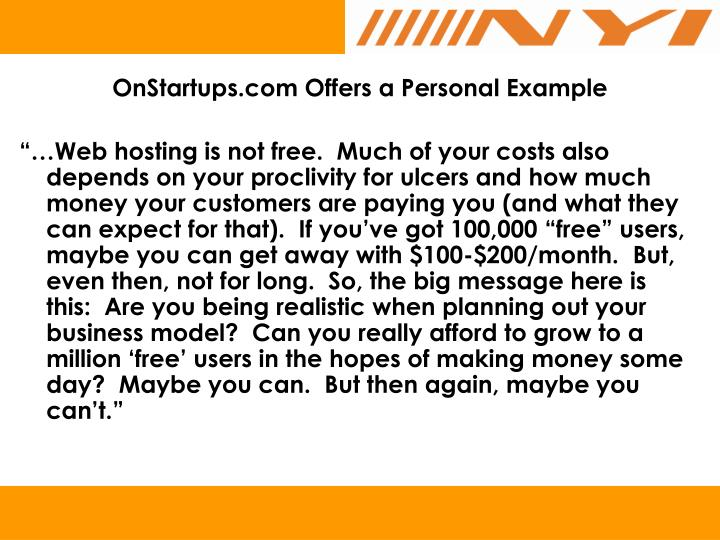 OnStartups.com Offers a Personal Example