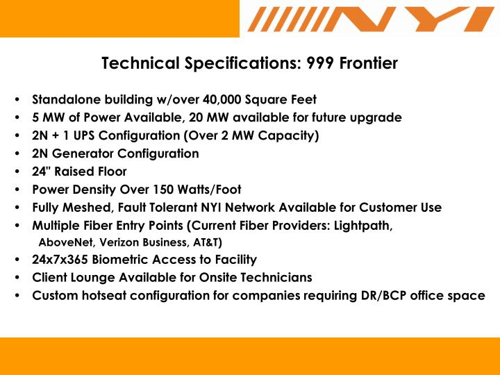 Technical Specifications: 999 Frontier