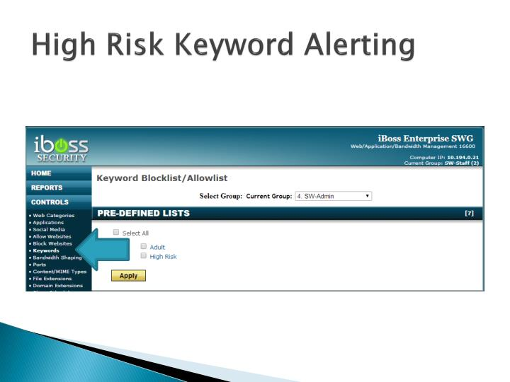 High Risk Keyword Alerting