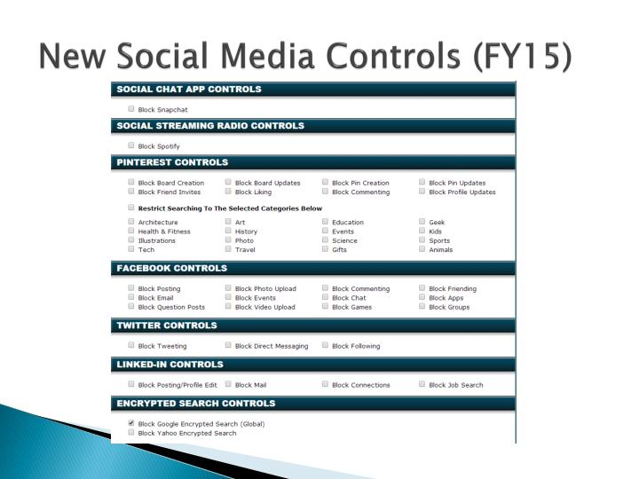 New Social Media Controls (FY15)