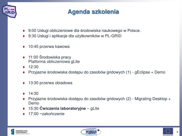 Agenda szkolenia