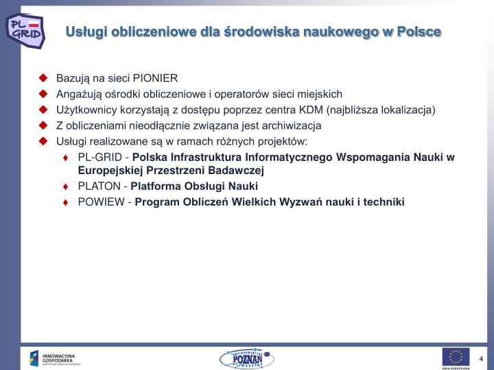 Usługi obliczeniowe dla środowiska naukowego w Polsce