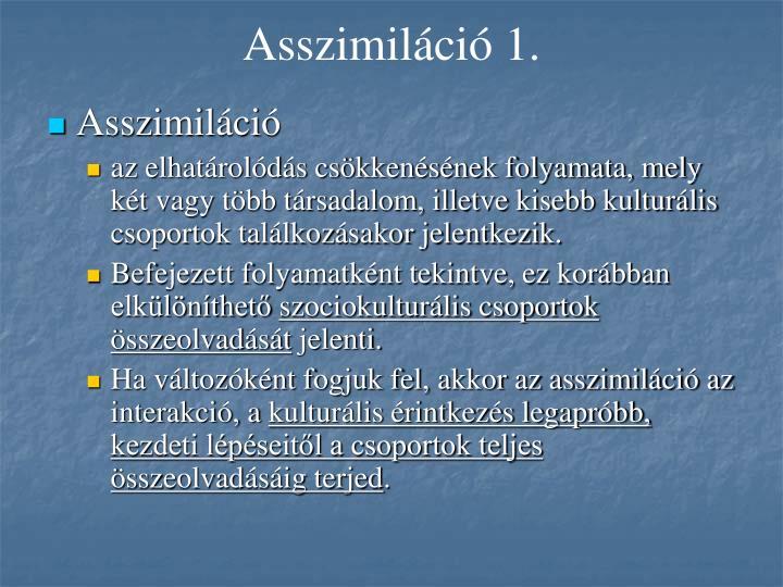 Asszimiláció 1.