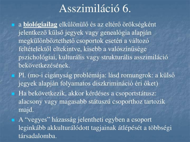 Asszimiláció 6.