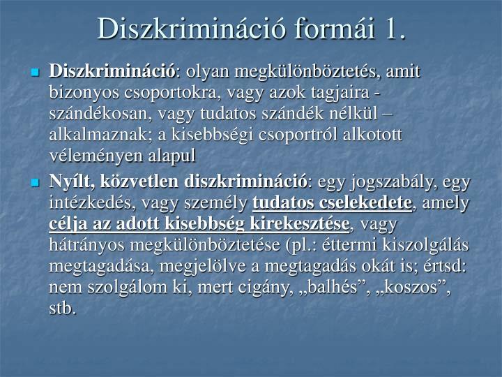 Diszkrimináció formái 1.