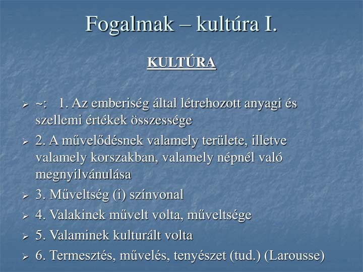 Fogalmak – kultúra I.
