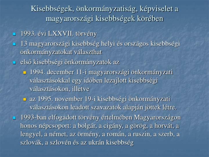 Kisebbségek, önkormányzatiság, képviselet a magyarországi kisebbségek körében