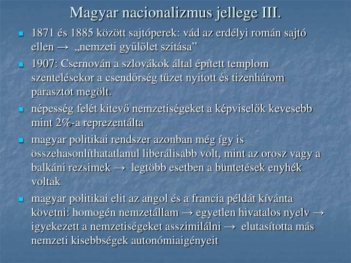 Magyar nacionalizmus jellege III.