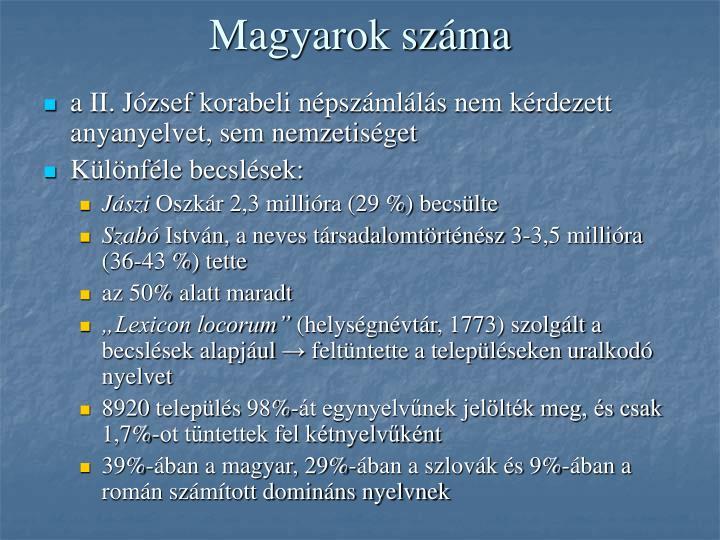 Magyarok száma