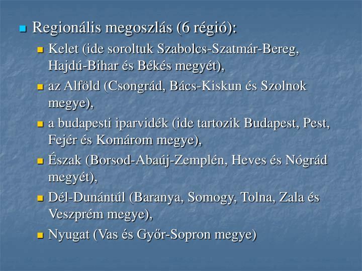 Regionális megoszlás (6 régió):
