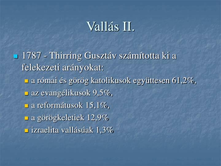 Vallás II.