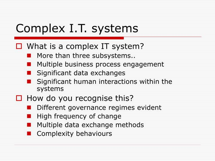 Complex i t systems