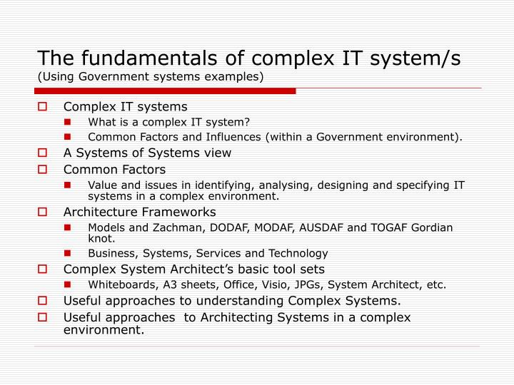 Thefundamentals of complex IT system/s