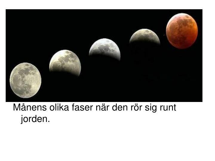 Månens olika faser när den rör sig runt jorden.