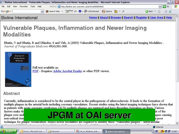 JPGM at OAI server