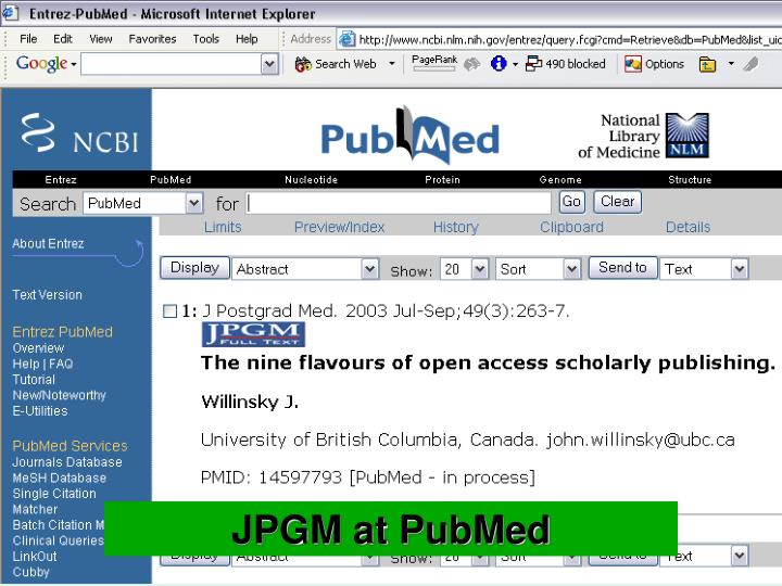 JPGM at PubMed