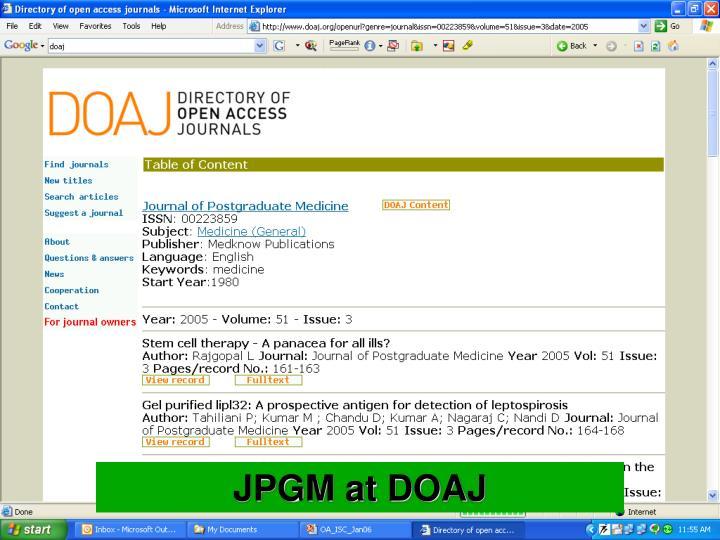 JPGM at DOAJ
