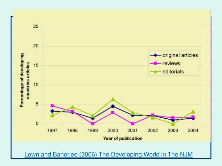 Lown and Banerjee (2006) The Developing World in The NJM