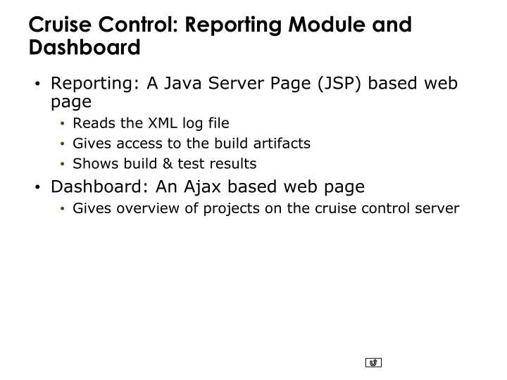 Cruise Control: Reporting Module and Dashboard