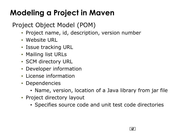 Modeling a Project in Maven