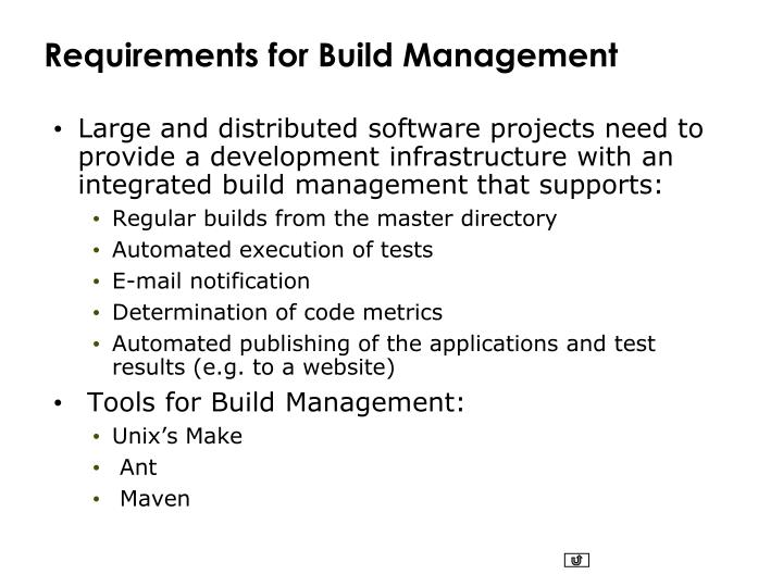 Requirements for Build Management