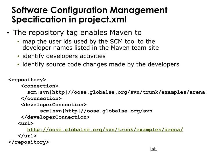 Software Configuration Management Specification in project.xml