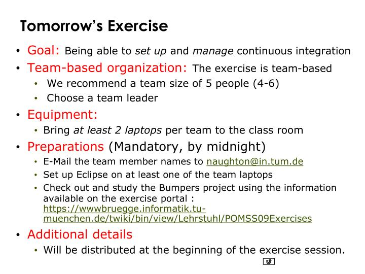 Tomorrow's Exercise