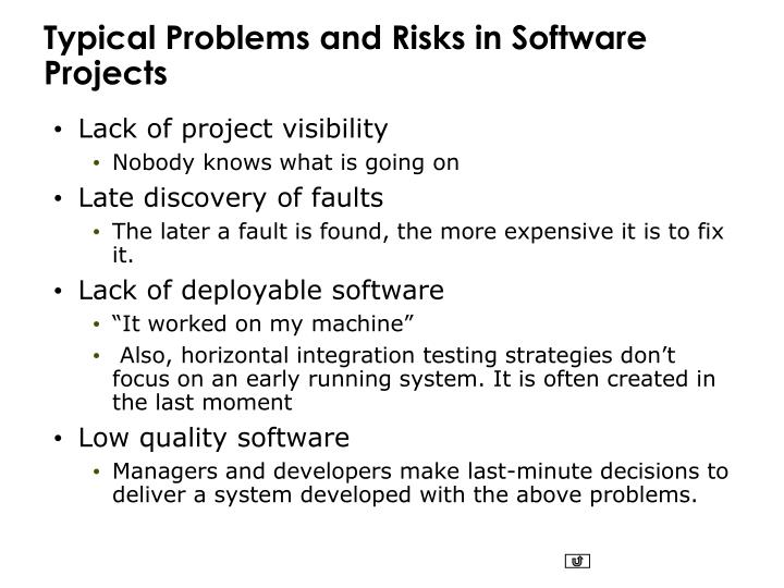 Typical Problems and Risks in Software Projects