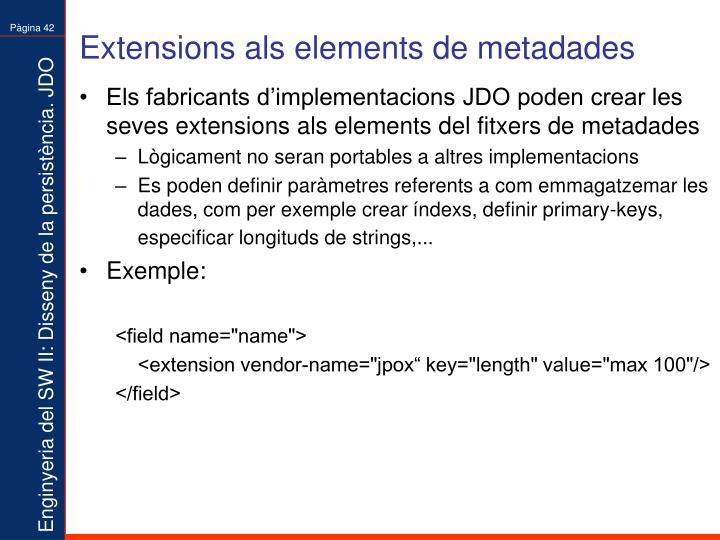 Extensions als elements de metadades