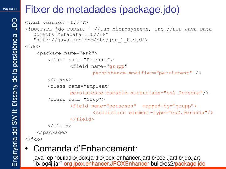 Fitxer de metadades (package.jdo)