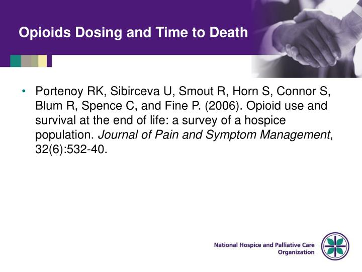 Opioids Dosing and Time to Death