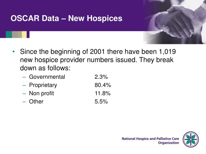 OSCAR Data – New Hospices
