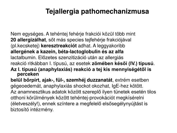 Tejallergia pathomechanizmusa