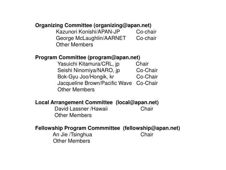 Organizing Committee (organizing@apan.net)