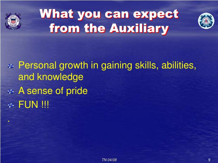 What you can expect from the Auxiliary