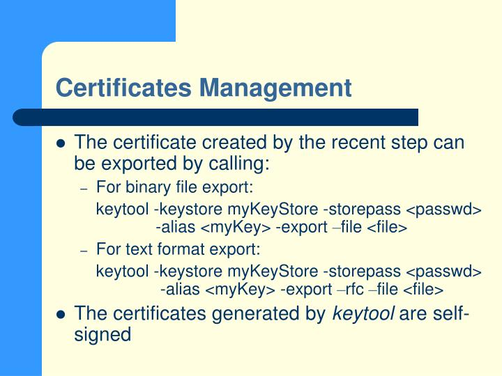 Certificates Management