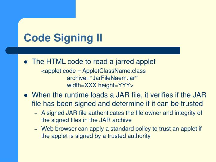 Code Signing II