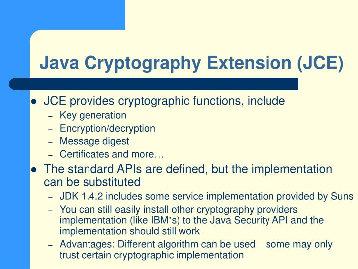 Java Cryptography Extension (JCE)