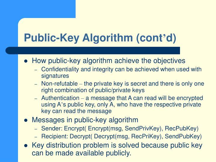 Public-Key Algorithm (cont