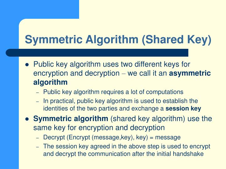 Symmetric Algorithm (Shared Key)