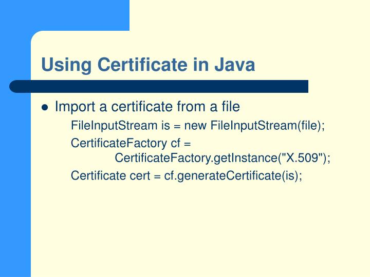Using Certificate in Java