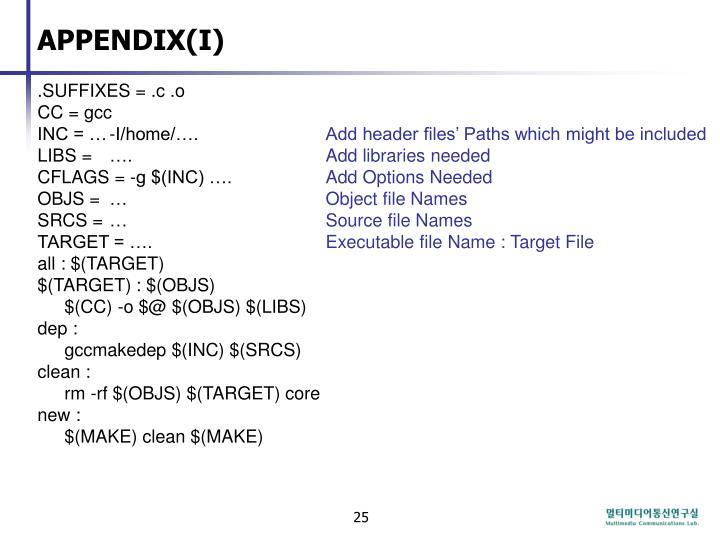 APPENDIX(I)