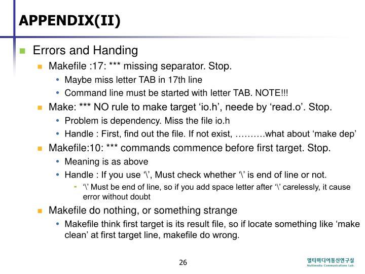 APPENDIX(II)