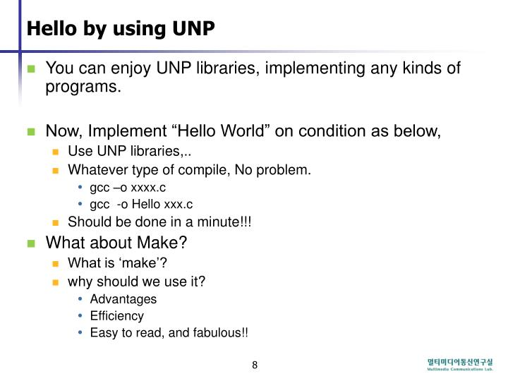 Hello by using UNP