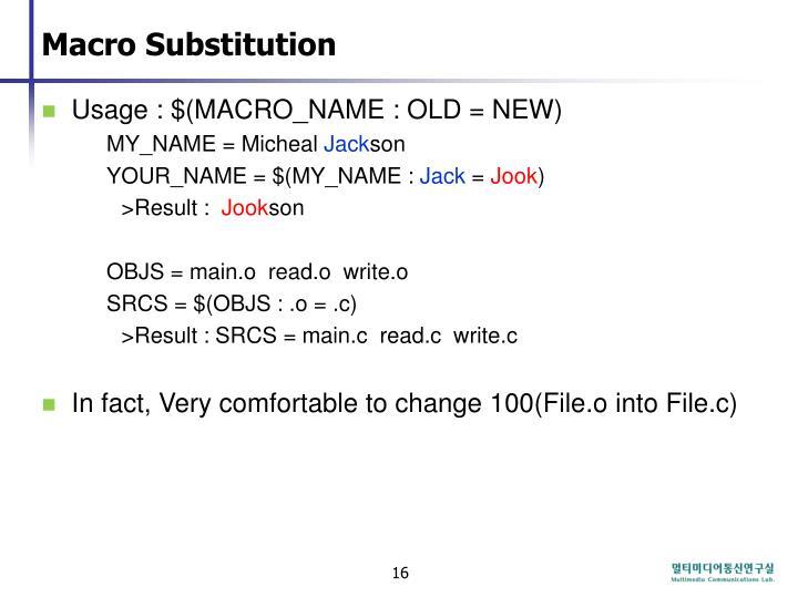 Macro Substitution