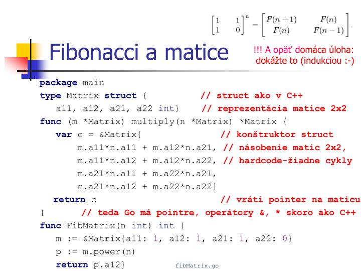 Fibonacci a matice